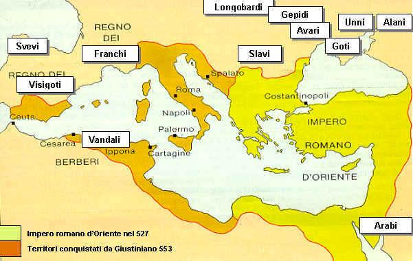 L'impero romano d'Oriente nel 527 e nel 565