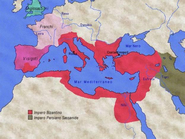 L'impero bizantino alla morte di Giustiniano (565 d.C.)