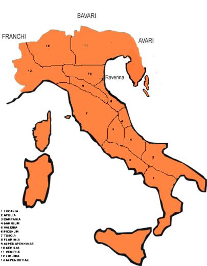 Prefettura bizantina d'Italia suddivisa in province